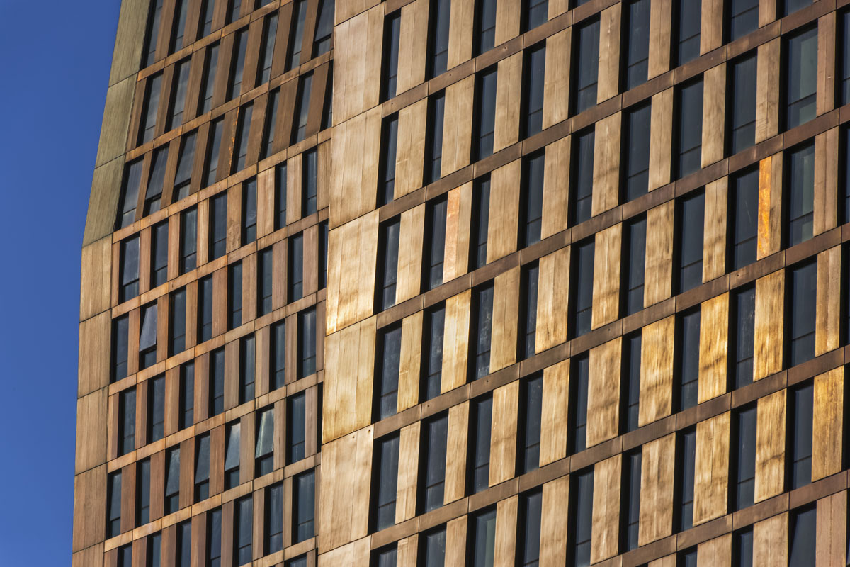 The facade of one of the American Copper Buildings by SHoP Architects