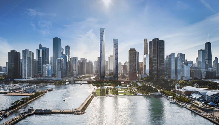 Rendering of 400 Lake Shore Drive by SOM