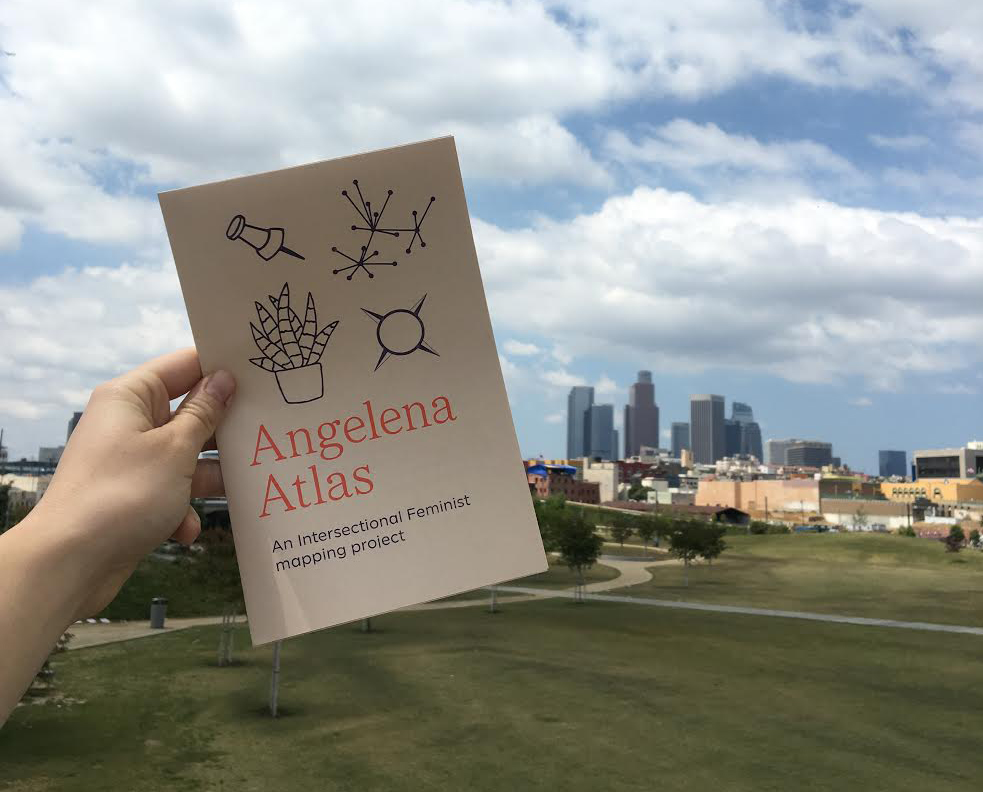 A view of the first edition of the Angelena Atlas in front of its namesake city