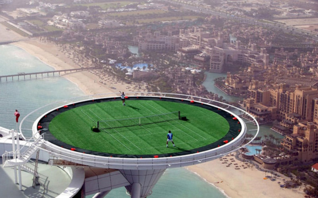 Tennis Courts atop the helipad of the Burj al Arab