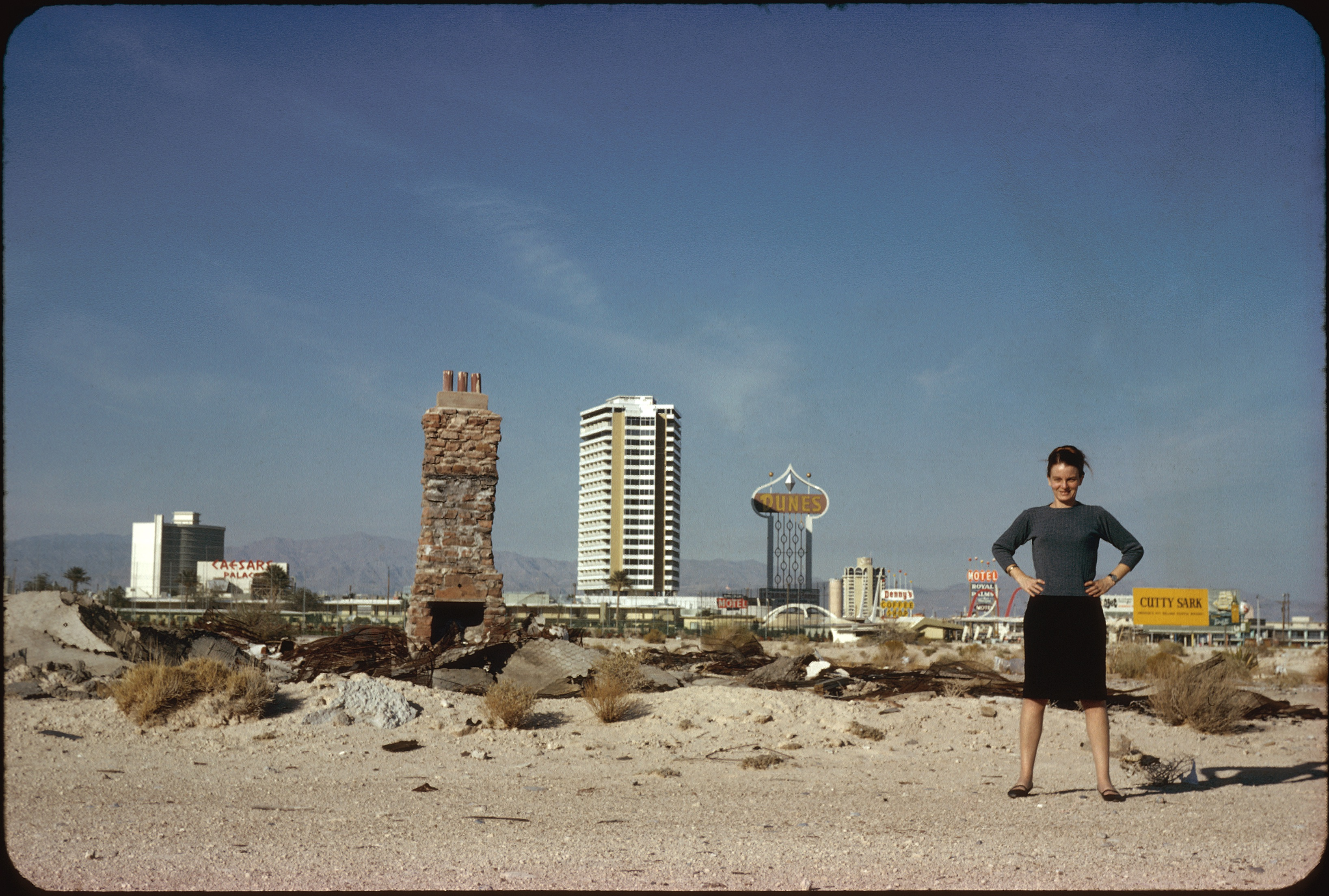 Photo of Denise Scott Brown in front of The Strip