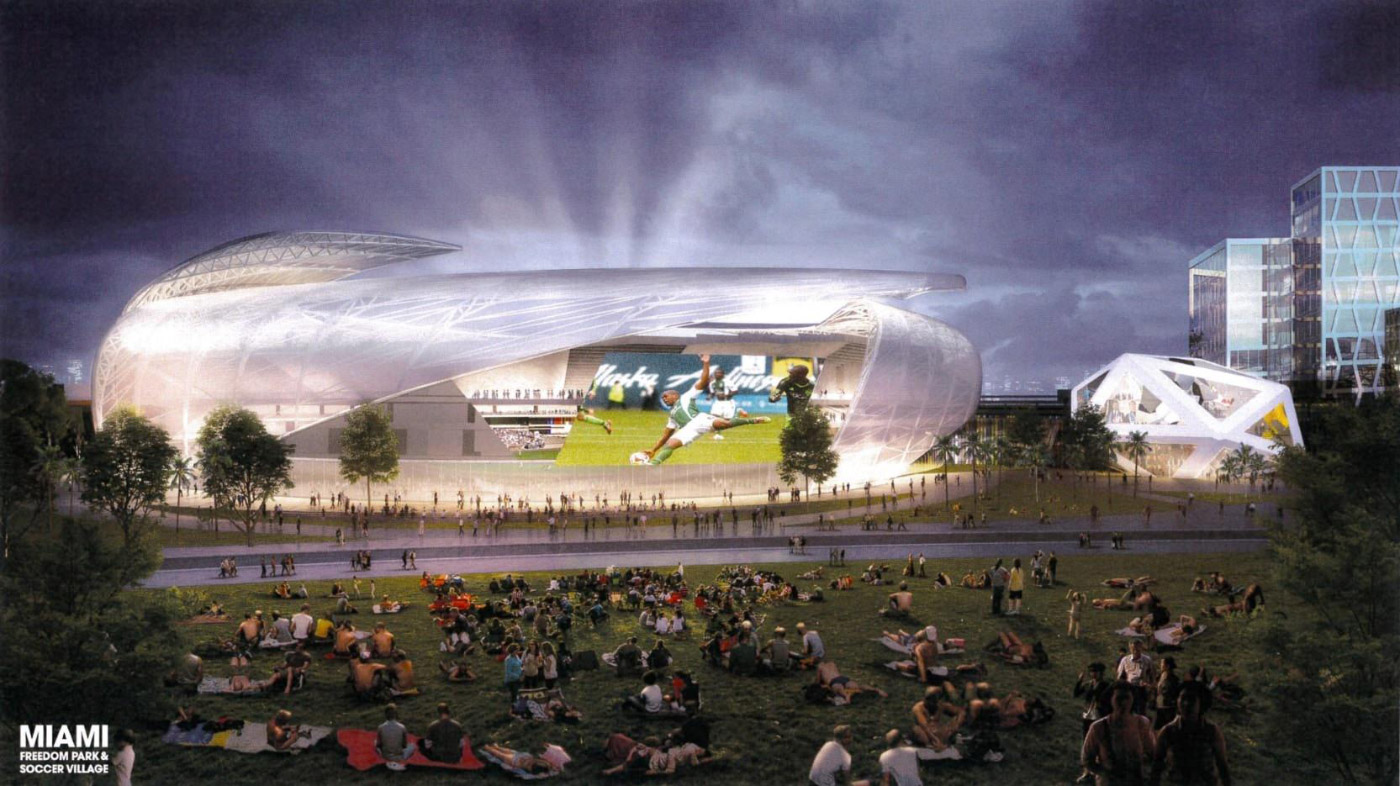 Rendering of the Miami soccer stadium by Arquitectonica