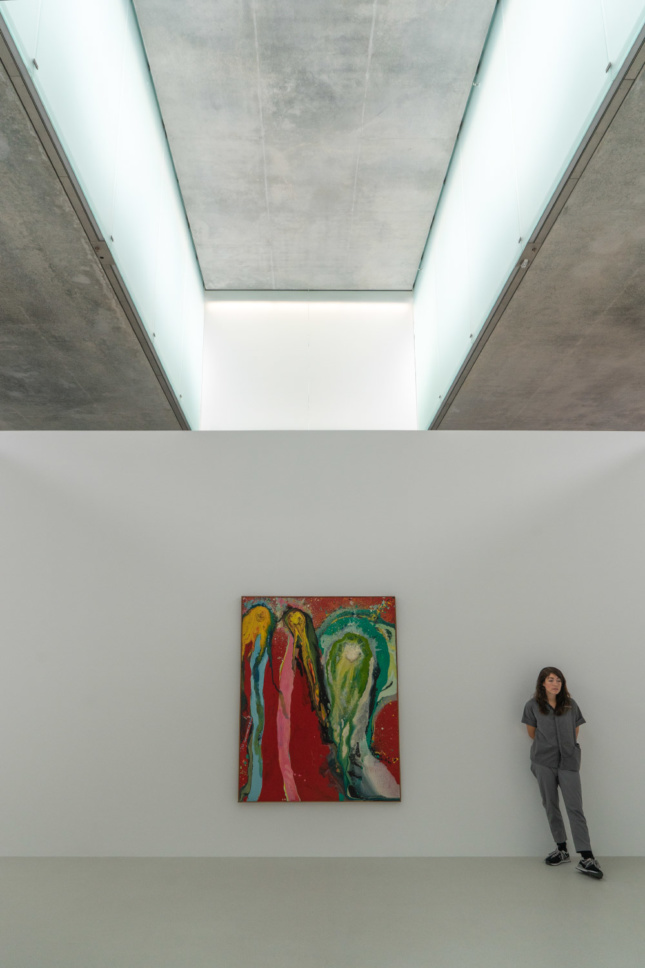 """What appears to be a fogged """"skylight"""" actually uses a double window system to both let in natural light and provide unnoticeable artificial lighting."""