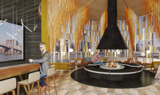 Rendering of Pier 17's rooftop warming hut and lounge