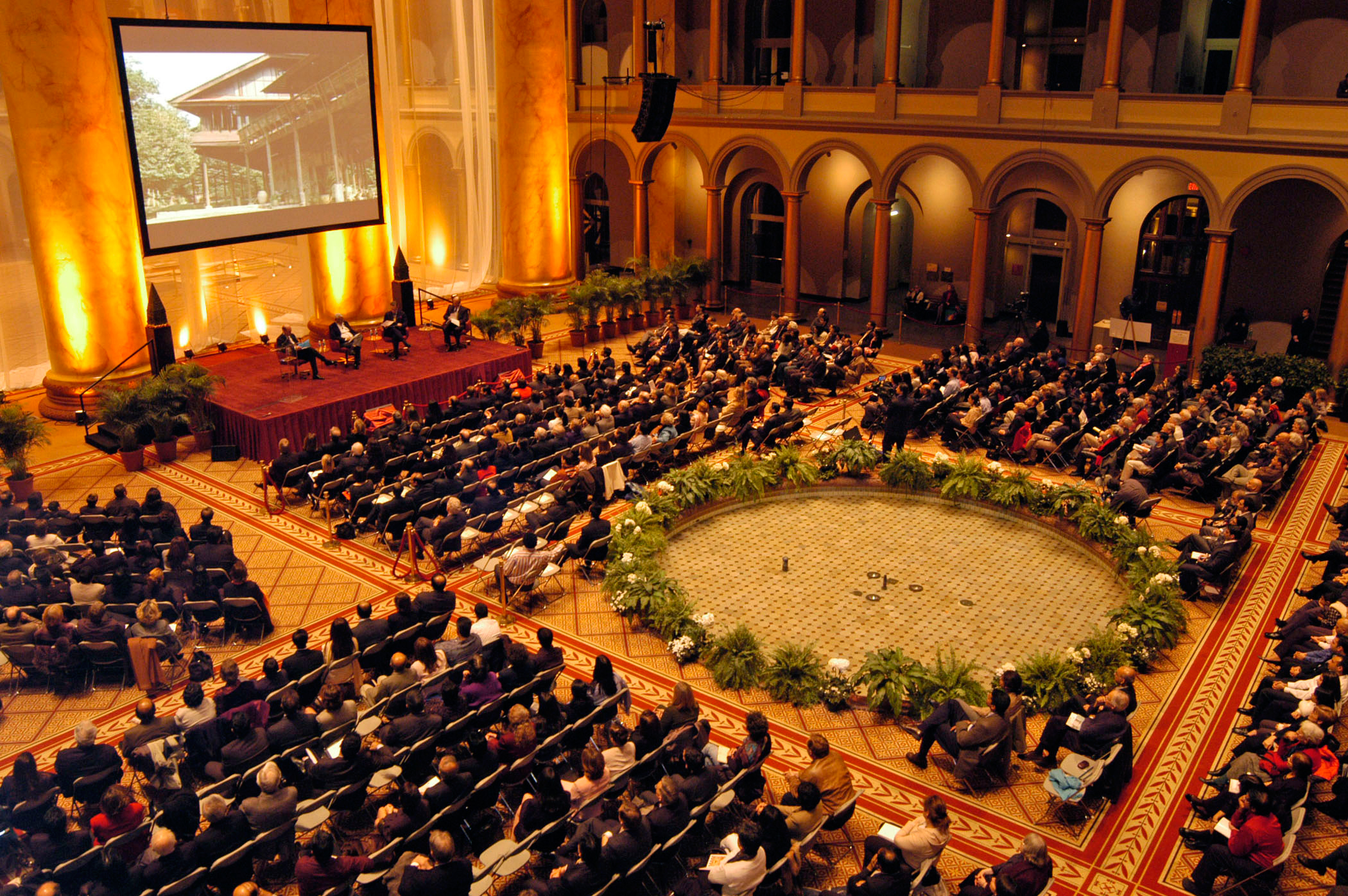 Awards ceremony at the National Building Museum for the 2005 prize winner Aga Kahn