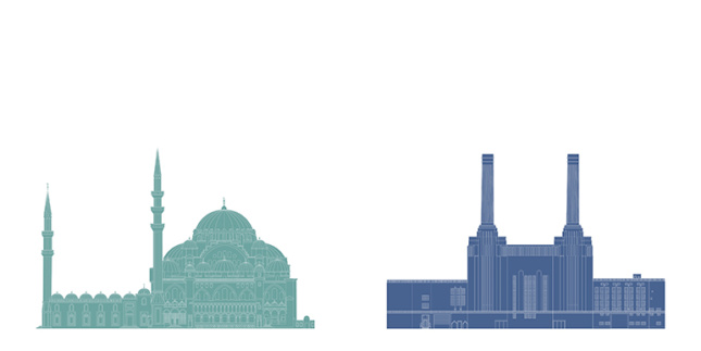 Elevations of the Suleymaniye Mosque and the Battersea Power Station