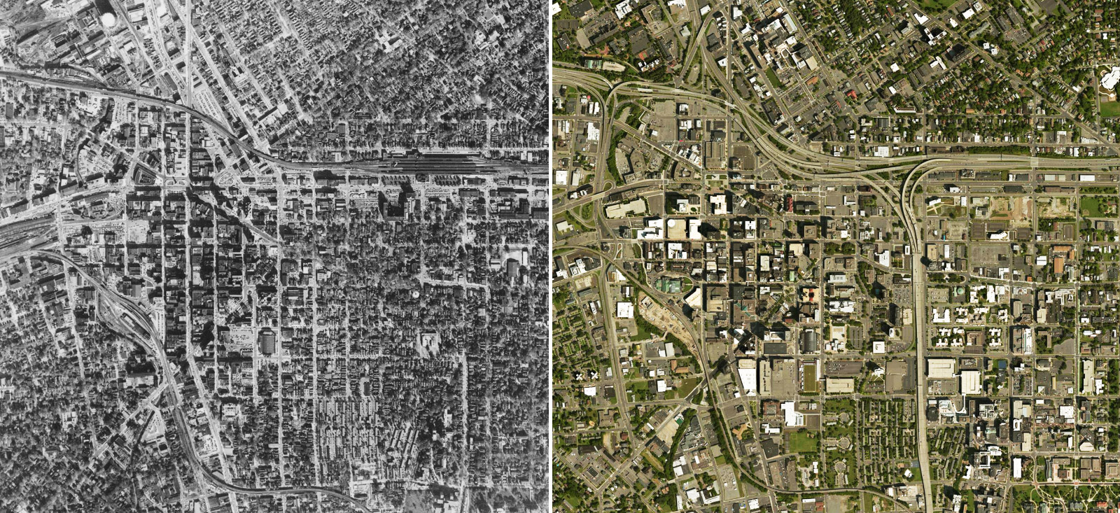 The I-81 viaduct cuts through Syracuse's urban core. Left: The city's density in 1955 before the highway's construction. Right: The city's density today.