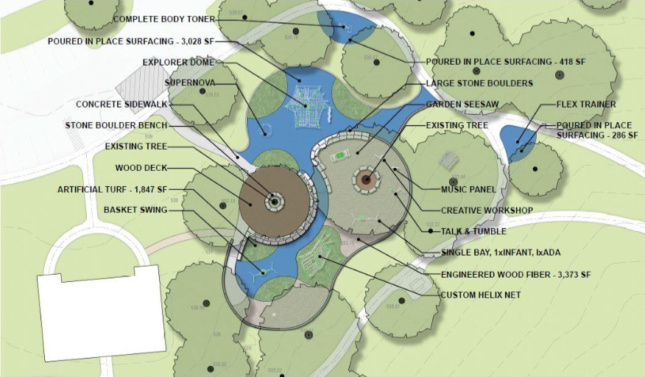 Site plan for Flag Pole Hill Park in Dallas, Texas