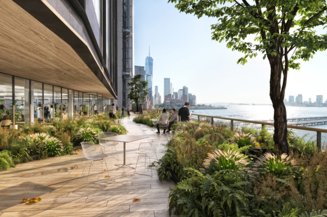 Rendering from the west-facing, third-floor terrace. Tenants will have access to a 400-foot-long deck with views across the Hudson River.