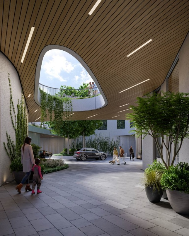 The port-cochere space next to the motor court and under the elevated park, rendering Courtesy Binyan Studios