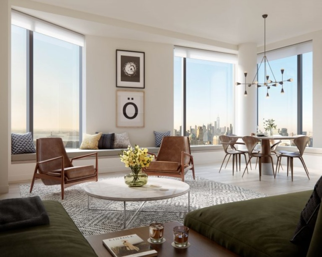 Living and dining space looking west towards Manhattan, rendering Courtesy Binyan Studios