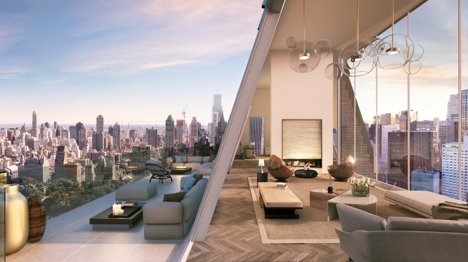Rendering of the Hampshire House penthouse at 150 Central Park South