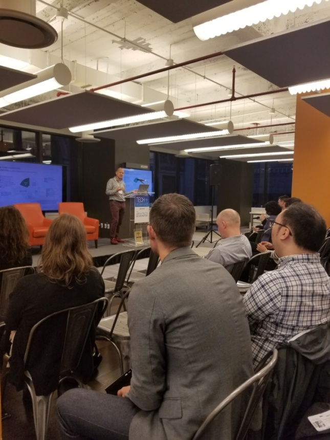 Executive Director of the Urban Tech Hub Robinson Hernandez leading a lecture at Tech+ Workplace