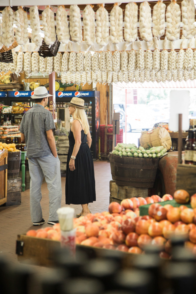 Making a stop at the Pacheco Pass Farmer's Market in Hollister, California.