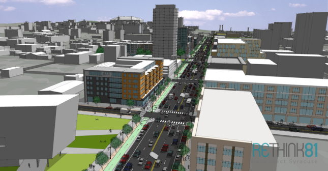 View above Washington Street South with proposed street grid (Courtesy ReThink81)
