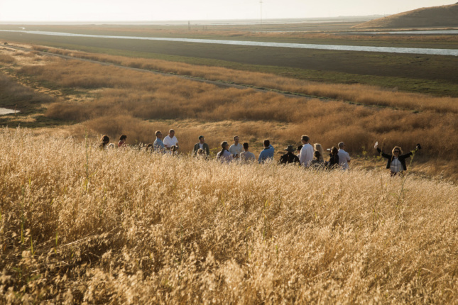 Meeting attendees overlooking Alameda Creek near Fremont, California. Council members' time away from everyday responsibilities allows for collaboration and reflection on larger challenges.