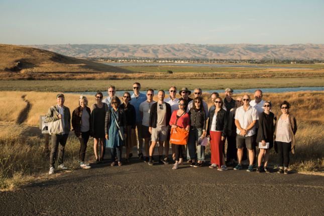 The Climate Council team posing together against California's rolling hills.