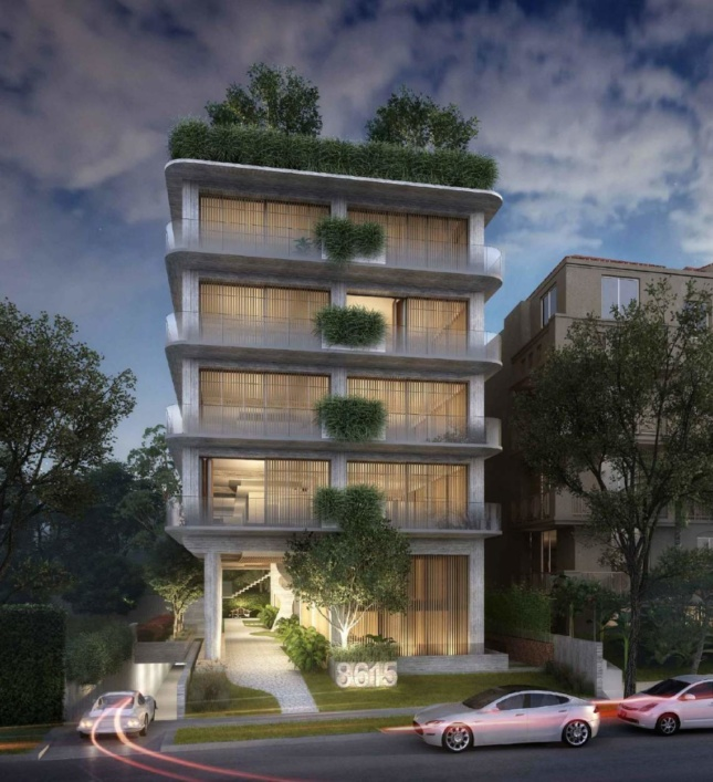 Rendering of Marcello Pozzi's brutalist 8615 West Knoll Drive apartment building