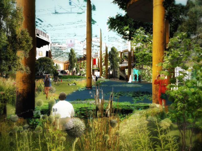 A proposal for a new park in Birmingham, England, envisions the radical reuse of a defunct public market to create suitable forms for new development.