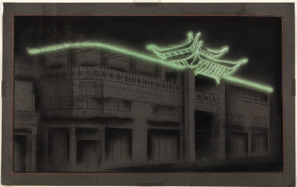 Electrical Products Corp. (artist unknown), Neon study for You Chung Hong buildings, Chinatown, Los Angeles