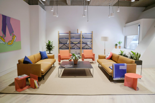 Primary colors and puffy furniture have been used for the common lounge areas.