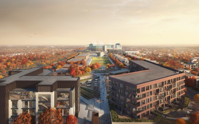 Rendering of the office building, left, and the brick apartment block, right, looking towards Lambeau Field.
