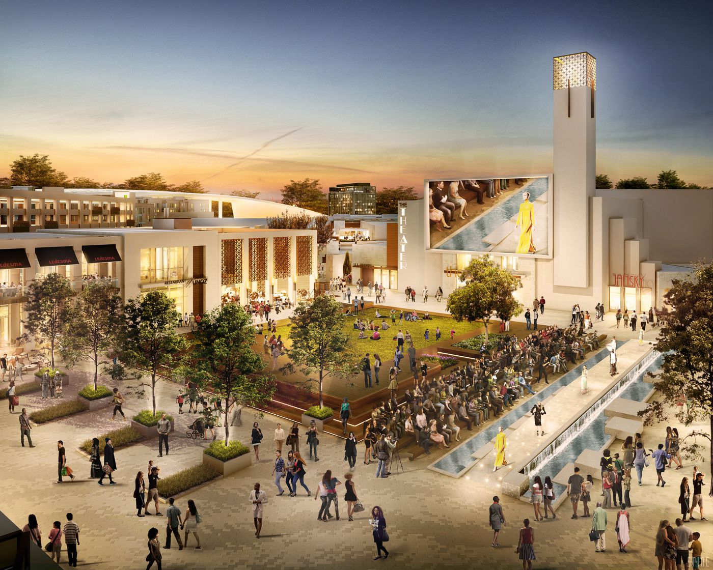 Rendering of the new Los Angeles Rams stadium mixed-use village in Inglewood, California