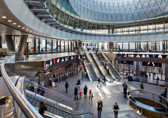 The rounded interior of Fulton Center.