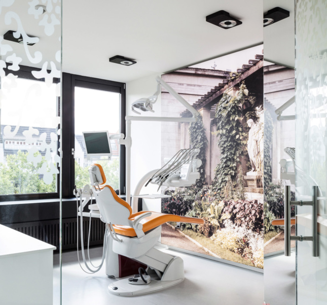 Each of the examination rooms in the office includes a window looking out over the city, while some feature large-scale photographic prints depicting Baroque interiors, landscapes, and vistas.