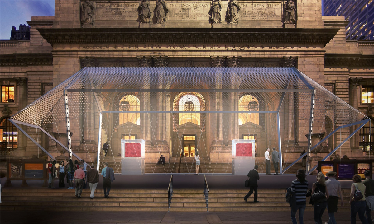 Rendering of Marc Quinn Odyssey in the Norman Foster–designed cage