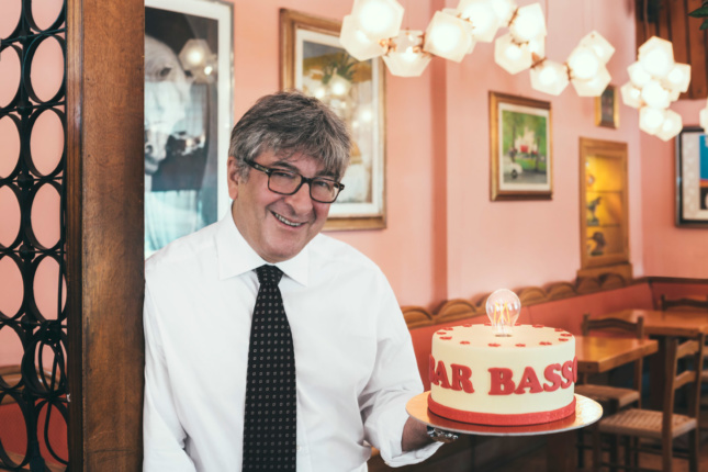 Maurizio Stocchetto at the entrance to Bar Basso