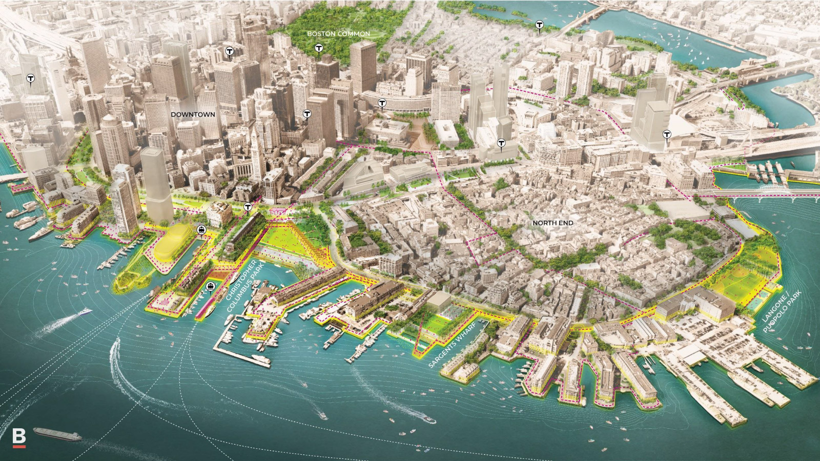 A potential vision of a resilient downtown Boston.