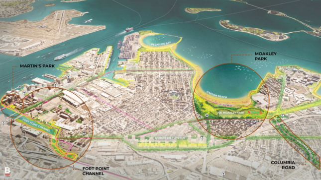 A map of the potential improvements to Fort Point Channel and South Boston.