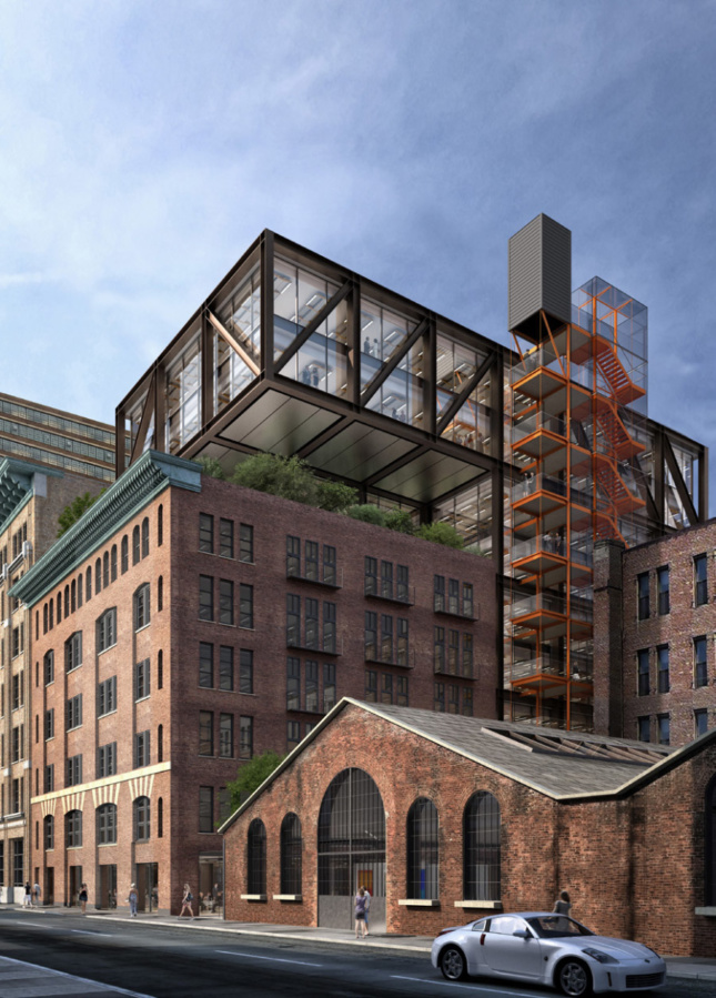 The double-height atrium being floated over the adjacent 549 West 26th Street building.
