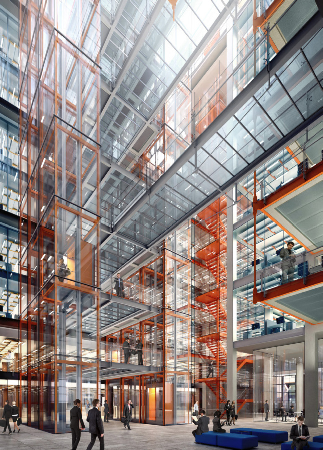 An interior rendering of the new building on 27th street; all of the internal systems have been left on display.