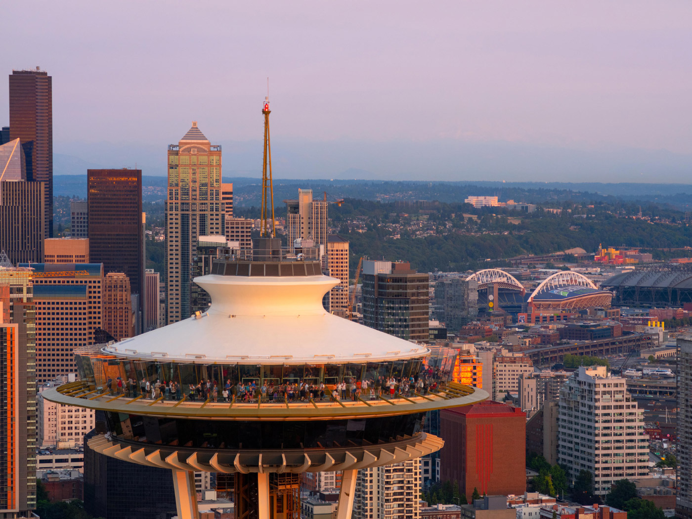 An aerial photo of the newly renovated Space Needle's Top House.
