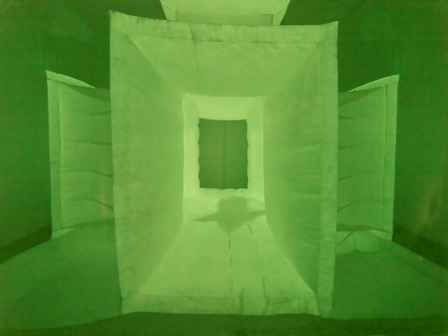 """Roomograph features an interior covered in furry white photosensitive fabric that invites visitors in. In the dark, a """"shadowy trace"""" of the occupants can be seen through transparent fabric enveloping the exterior."""