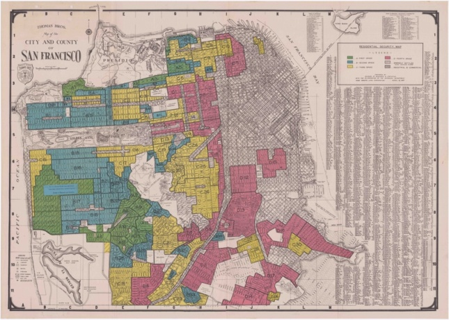 "A 1937 San Francisco ""residential security map"" created by the Home Owners' Loan Corporation"
