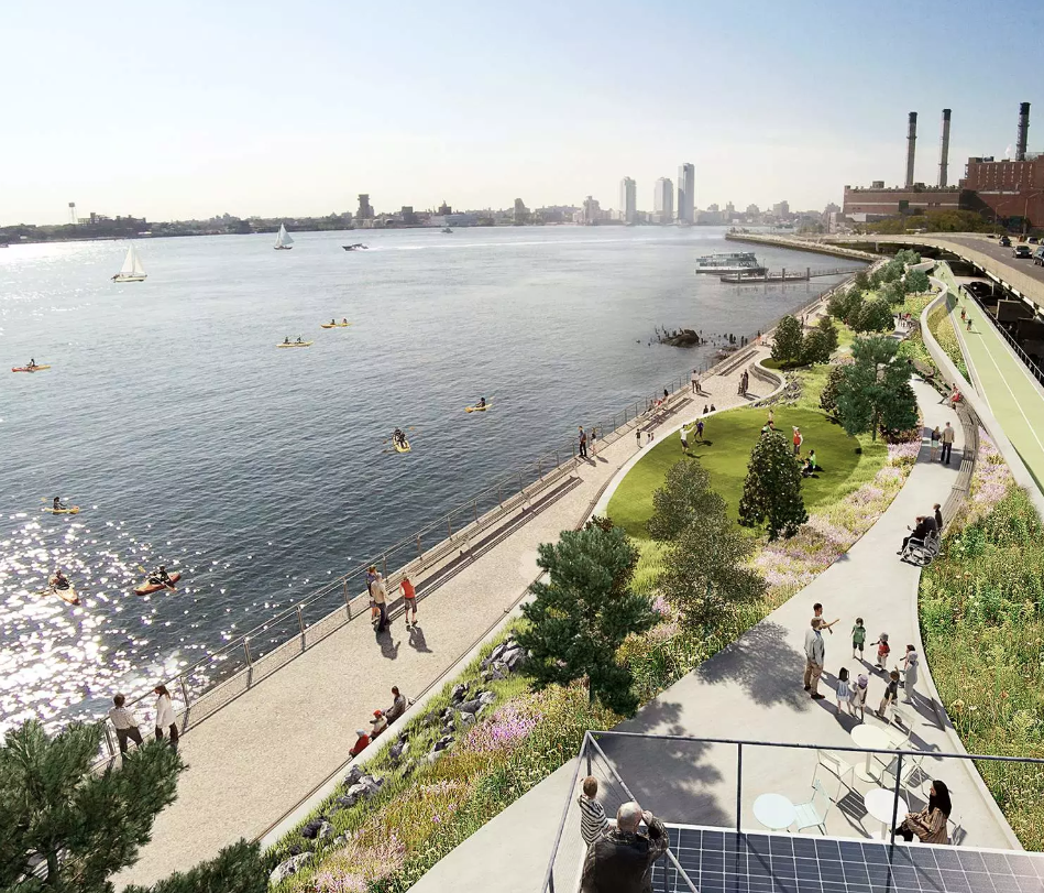 Rendering of the East Side Coastal Resiliency Project in New York City