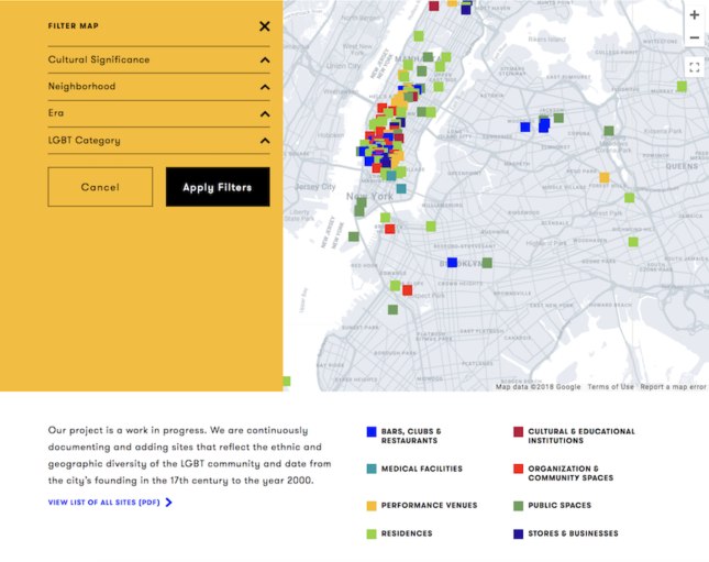 Screenshot of the NYC LGBT Historic Sites Project interactive map