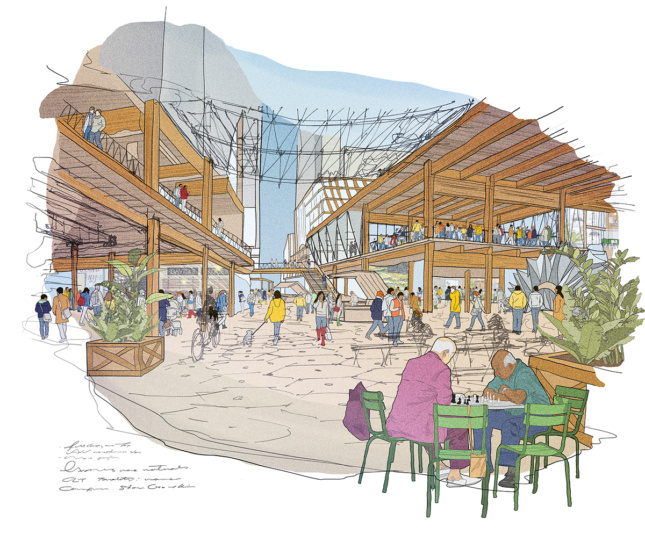 Sidewalk Labs' vision for a Quayside laneway in their Toronto development