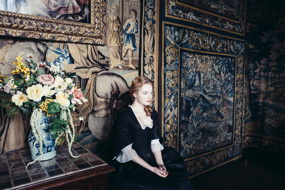 Production still from The Favourite with Emma Stone and directed by Yorgos Lanthimos
