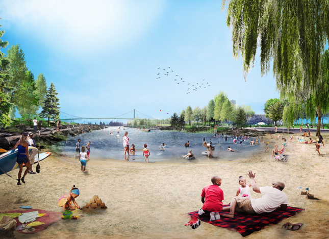 Rendering of The Cove at West Riverfront Park (Courtesy MVVA and Detroit Riverfront Conservancy)