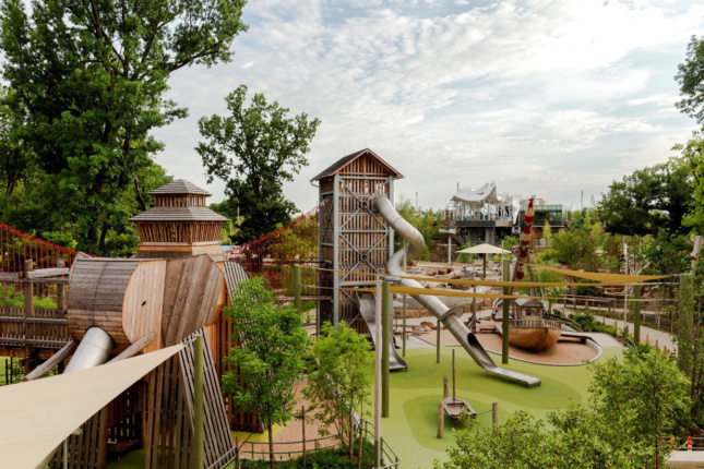 The landscape architects designed the Adventure Playground with large-scale climbable creatures, towers, and suspended bridges. (Shane Bevel)