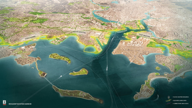 A map of a future Boston Harbor and key.