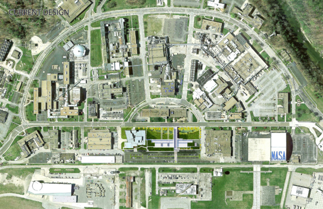 An aerial rendering of the entire John H. Glenn Research Center, complete with the new building and Wright Commons.