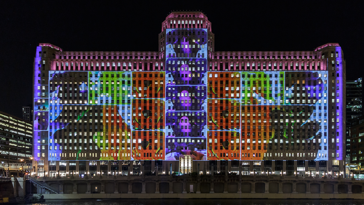 Art on the Mart turns Chicago's hulking Merchandise Mart into the world's largest digital art projection. (Courtesy of Art on the Mart/Bob Grosse)