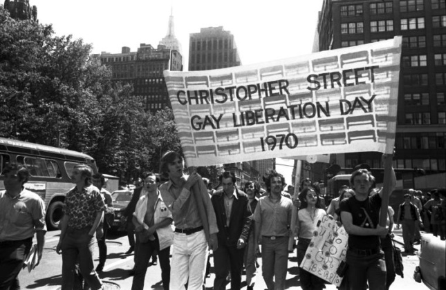 Protesters holding Christopher Street Liberation Day banner, 1970