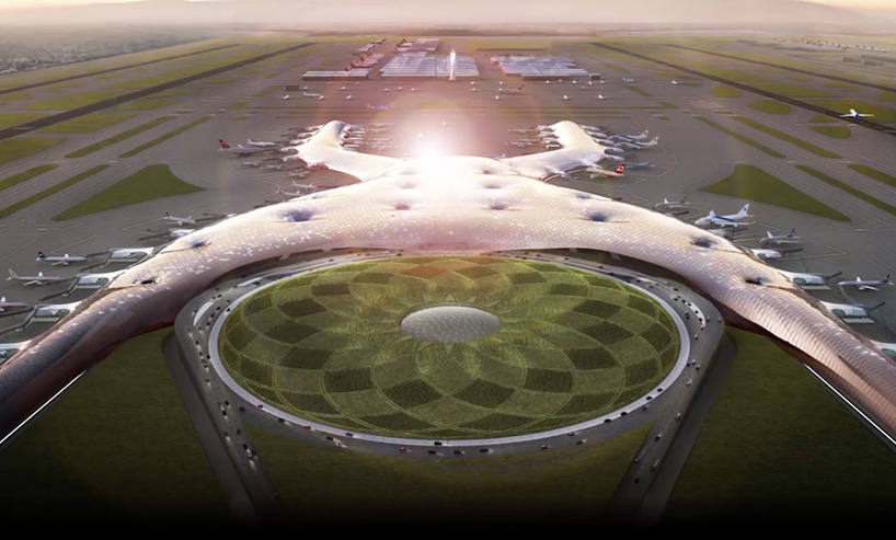 Aerial rendering of the now-cancelled New Mexico City International Airport, designed by Foster + Partners