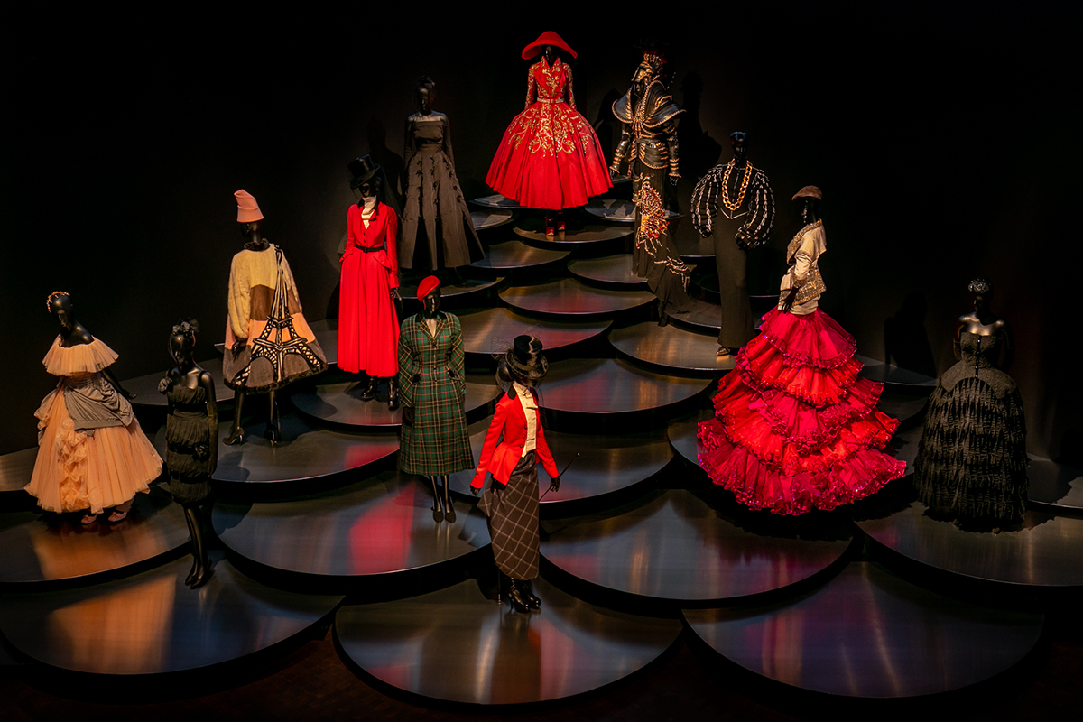 Installation photo of Dior: From Paris to the World exhibition by OMA at the Denver Art Museum